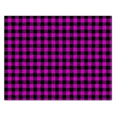 Lumberjack Fabric Pattern Pink Black Rectangular Jigsaw Puzzl by EDDArt