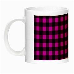 Lumberjack Fabric Pattern Pink Black Night Luminous Mugs by EDDArt