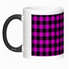 Lumberjack Fabric Pattern Pink Black Morph Mugs by EDDArt