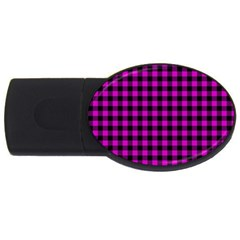 Lumberjack Fabric Pattern Pink Black Usb Flash Drive Oval (4 Gb) by EDDArt