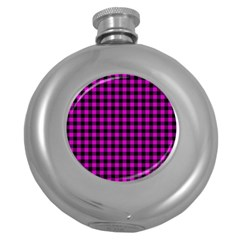 Lumberjack Fabric Pattern Pink Black Round Hip Flask (5 Oz) by EDDArt