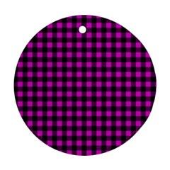 Lumberjack Fabric Pattern Pink Black Round Ornament (two Sides) by EDDArt
