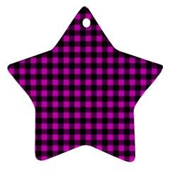Lumberjack Fabric Pattern Pink Black Star Ornament (two Sides) by EDDArt