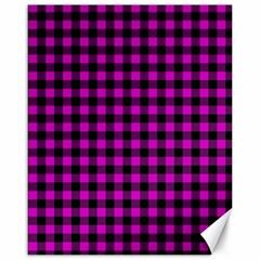 Lumberjack Fabric Pattern Pink Black Canvas 16  X 20   by EDDArt