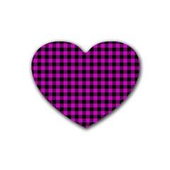 Lumberjack Fabric Pattern Pink Black Rubber Coaster (heart)  by EDDArt
