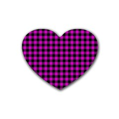 Lumberjack Fabric Pattern Pink Black Heart Coaster (4 Pack)  by EDDArt