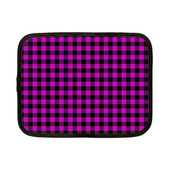 Lumberjack Fabric Pattern Pink Black Netbook Case (small)  by EDDArt