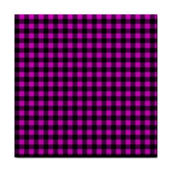 Lumberjack Fabric Pattern Pink Black Face Towel by EDDArt
