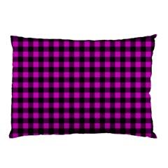 Lumberjack Fabric Pattern Pink Black Pillow Case by EDDArt