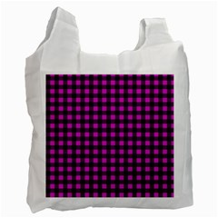 Lumberjack Fabric Pattern Pink Black Recycle Bag (one Side) by EDDArt