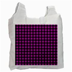 Lumberjack Fabric Pattern Pink Black Recycle Bag (one Side) by EDDArt