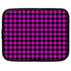 Lumberjack Fabric Pattern Pink Black Netbook Case (xxl)  by EDDArt