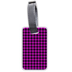 Lumberjack Fabric Pattern Pink Black Luggage Tags (one Side)  by EDDArt