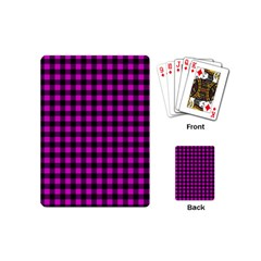 Lumberjack Fabric Pattern Pink Black Playing Cards (mini)  by EDDArt