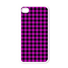 Lumberjack Fabric Pattern Pink Black Apple Iphone 4 Case (white) by EDDArt
