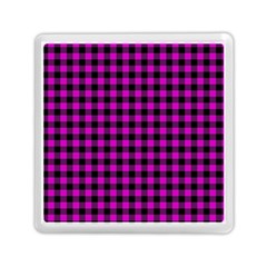 Lumberjack Fabric Pattern Pink Black Memory Card Reader (square)  by EDDArt
