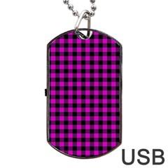Lumberjack Fabric Pattern Pink Black Dog Tag Usb Flash (one Side) by EDDArt