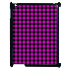 Lumberjack Fabric Pattern Pink Black Apple Ipad 2 Case (black) by EDDArt