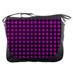 Lumberjack Fabric Pattern Pink Black Messenger Bags by EDDArt