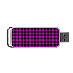 Lumberjack Fabric Pattern Pink Black Portable Usb Flash (one Side) by EDDArt