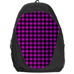 Lumberjack Fabric Pattern Pink Black Backpack Bag by EDDArt