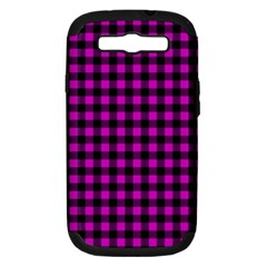 Lumberjack Fabric Pattern Pink Black Samsung Galaxy S Iii Hardshell Case (pc+silicone) by EDDArt
