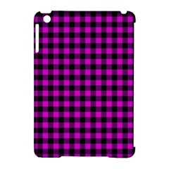 Lumberjack Fabric Pattern Pink Black Apple Ipad Mini Hardshell Case (compatible With Smart Cover) by EDDArt