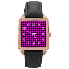 Lumberjack Fabric Pattern Pink Black Rose Gold Leather Watch  by EDDArt