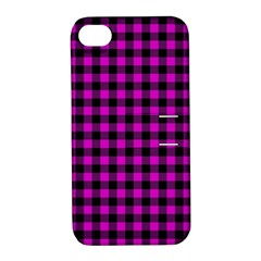 Lumberjack Fabric Pattern Pink Black Apple Iphone 4/4s Hardshell Case With Stand by EDDArt