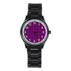 Lumberjack Fabric Pattern Pink Black Stainless Steel Round Watch by EDDArt
