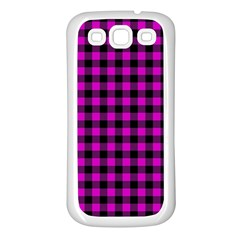Lumberjack Fabric Pattern Pink Black Samsung Galaxy S3 Back Case (white) by EDDArt