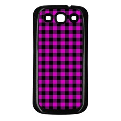 Lumberjack Fabric Pattern Pink Black Samsung Galaxy S3 Back Case (black) by EDDArt