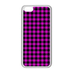 Lumberjack Fabric Pattern Pink Black Apple Iphone 5c Seamless Case (white) by EDDArt