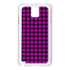 Lumberjack Fabric Pattern Pink Black Samsung Galaxy Note 3 N9005 Case (white) by EDDArt