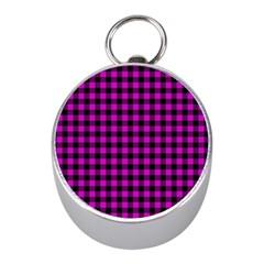 Lumberjack Fabric Pattern Pink Black Mini Silver Compasses by EDDArt
