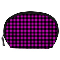 Lumberjack Fabric Pattern Pink Black Accessory Pouches (large)  by EDDArt