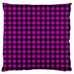 Lumberjack Fabric Pattern Pink Black Large Flano Cushion Case (two Sides) by EDDArt