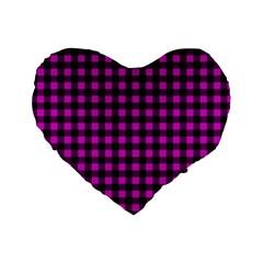 Lumberjack Fabric Pattern Pink Black Standard 16  Premium Flano Heart Shape Cushions by EDDArt