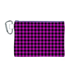 Lumberjack Fabric Pattern Pink Black Canvas Cosmetic Bag (m) by EDDArt