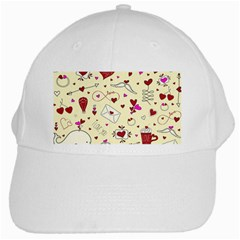 Valentinstag Love Hearts Pattern Red Yellow White Cap by EDDArt