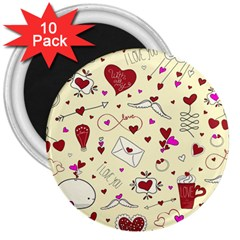 Valentinstag Love Hearts Pattern Red Yellow 3  Magnets (10 Pack)  by EDDArt