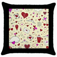 Valentinstag Love Hearts Pattern Red Yellow Throw Pillow Case (black) by EDDArt