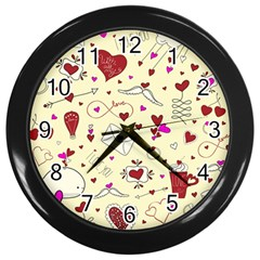 Valentinstag Love Hearts Pattern Red Yellow Wall Clocks (black) by EDDArt