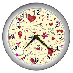 Valentinstag Love Hearts Pattern Red Yellow Wall Clocks (silver)  by EDDArt
