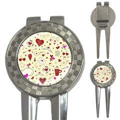 Valentinstag Love Hearts Pattern Red Yellow 3 In 1 Golf Divots by EDDArt