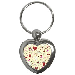 Valentinstag Love Hearts Pattern Red Yellow Key Chains (heart)  by EDDArt