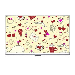 Valentinstag Love Hearts Pattern Red Yellow Business Card Holders by EDDArt