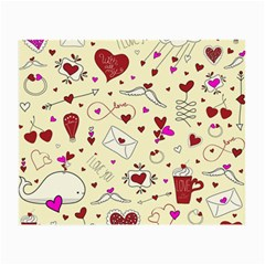 Valentinstag Love Hearts Pattern Red Yellow Small Glasses Cloth by EDDArt
