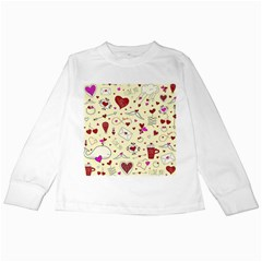 Valentinstag Love Hearts Pattern Red Yellow Kids Long Sleeve T Shirts by EDDArt
