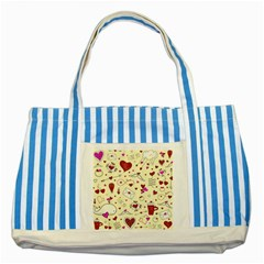 Valentinstag Love Hearts Pattern Red Yellow Striped Blue Tote Bag by EDDArt